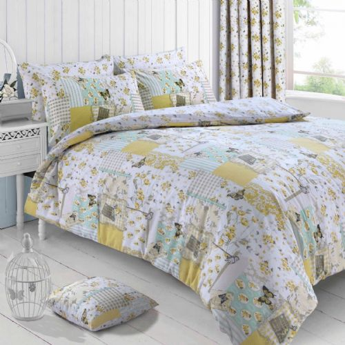 Floral Lemon Vintage Shabby Chic Boutique Patchwork Reversible Bedding Duvet Quilt Cover Set